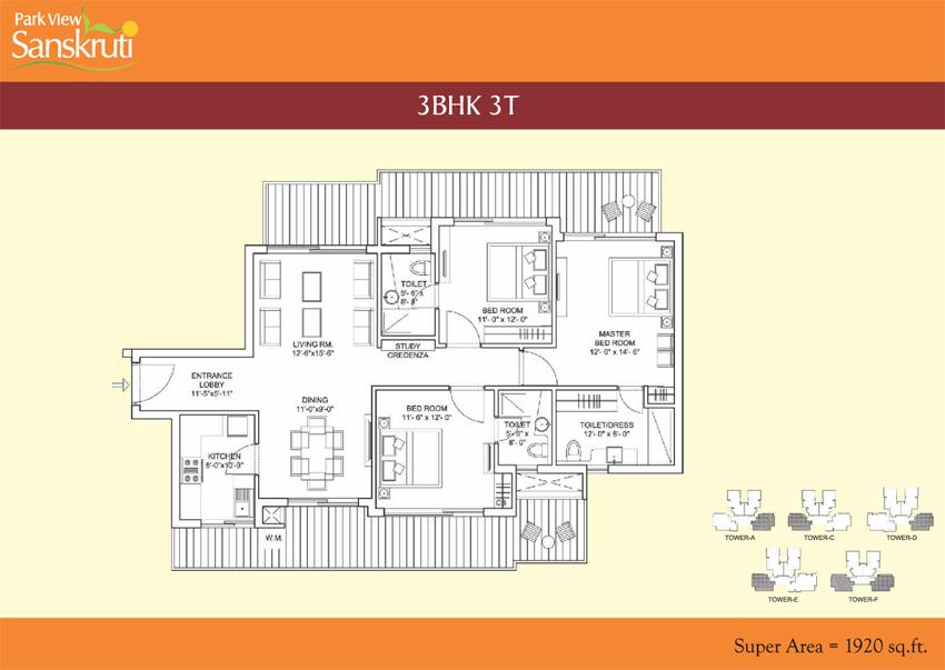 Bestech Park View Sanskrutifloor plan
