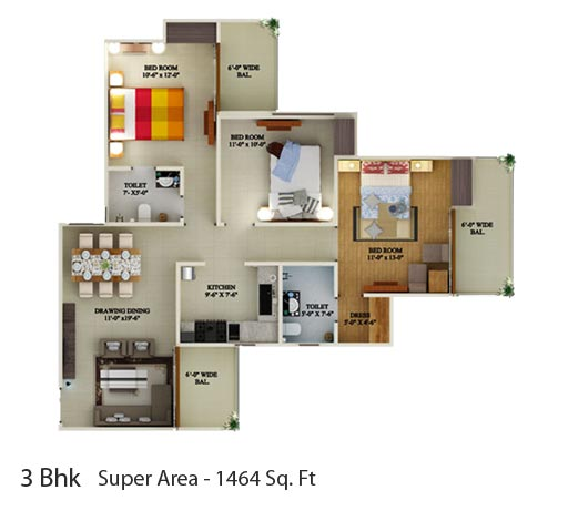 Supertech Eco Village 1floor plan